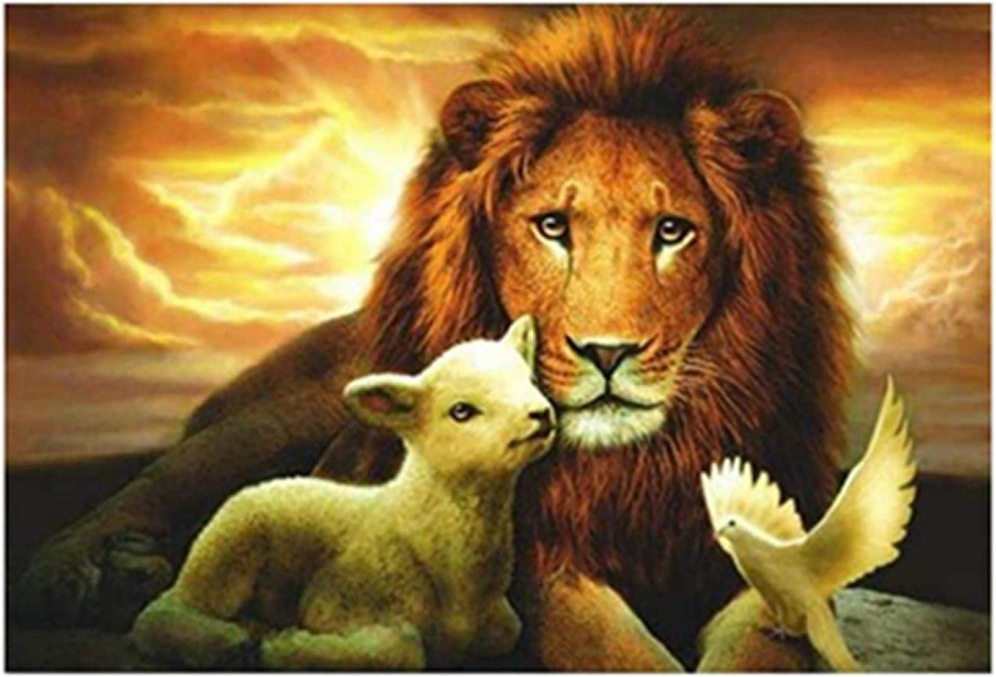 Sunset Lion Lamb Bird trend rank Painting Canvas Wall Living Room Dealing full price reduction Art Poste