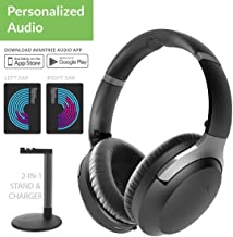 Avantree Aria Me Auto-Optimized Audio Bluetooth Headphones, Hear More Detail, aptX HD, Low Latency, Noise Cancelling Wireless Headset with Detachable Boom Microphone & Charging Stand for TV PC Phone