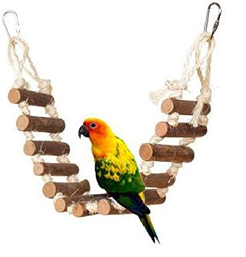 new arrival OPTIMISTIC Naturals Rope Ladder Bird Toy, Birdie Parrot outlet online sale Toys Ladders 2021 Swing Chewing Toys, Wood Ladder for Bird, 12Inch online