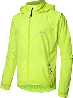 Outto Men's High Visibility Cycling Jacket Convertible UPF50+ Windproof Lightweight Windbreaker