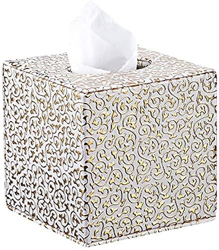 Cuadro de Tejido Cubierta Decoración Caja de Cuero Cubierta de pañuelos Tobetos de Tejido Dispensador Tabla de servilleta para Home Office Car Hotel, Patrón Decorativo de Oro