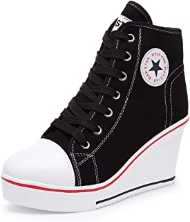 Women's Wedge Sneakers High Heel Canvas Shoes Lace up High Top Side Zipper Fashion Sneakers