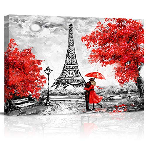 Canvas Print Wall Art - Black White and Red Umbrella Couple in Street Eiffel Tower - Wall Decor Modern Artwork Paintings Pictures for Living Room Stretched and Framed Ready to Hang - 24