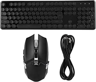 Wireless Keyboard and Mouse Combos 620 Wireless Charging Light 104 Keys Gaming Keyboard and Mouse Set USB Intelligent Power Saving, Durable(Black White Round Cap)