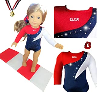 Sparkling 18 inch Doll Gymnastics Outfit with Gymnastics Mat - Compatible with American Girl, Adora, Kindred Hearts, Our Generation and Journey Girls Doll Clothes (4 Pieces in All)