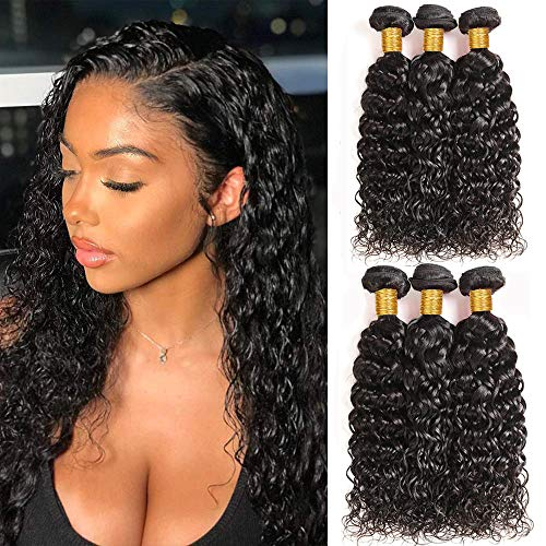 Brazilian Virgin Water Wave 3 Bundles Human Hair Unprocessed Natural Color Remy Wet and Wavy Human Hair Bundles Wefts (24 26 28 inch)