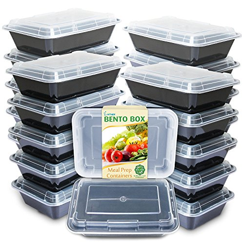 Enther Meal Prep Containers 20 Pack Single 1 Compartment with Lids Food Storage Bento Box | BPA Free | Stackable | Reusable Lunch Boxes Microwave/Dishwasher/Freezer SafePortion Control 28 oz