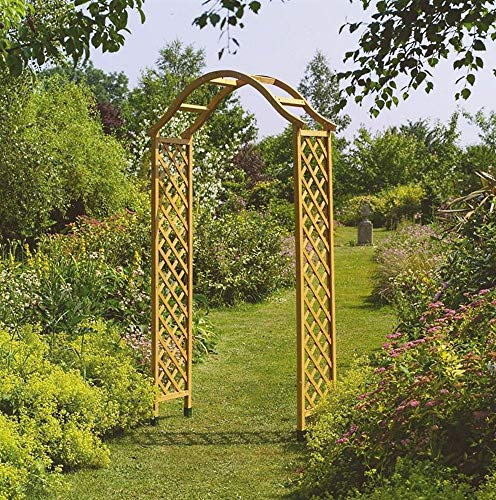 Smart Garden Elegant Woodland Wooden Garden Arch Pergola Tan Plant Support