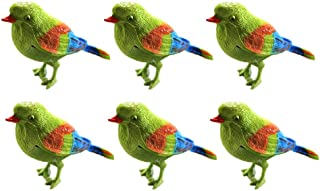 TOYMYTOY 6pcs Kid Toy Chirping Colorful Bird Sparrow Motion Sensor Christmas Ornament Real Singing Sounds Movement