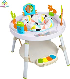 COLOR TREE Baby Multi Rocking Chair Baby's View 3-Stage Activity Center Baby Sit, Spin & Stand Entertainer 360 Seat,White