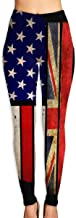 Yoga Pants, Women's Power Flex Vintage USA Union Jack Yoga Leggings Tummy Control Workout Running Leggings