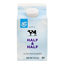 Amazon Brand - Happy Belly Half & Half, Ultra-Pasteurized, Kosher, Pint, 16 Ounces