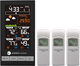 Ambient Weather Advanced Wireless Color Forecast Station with Temperature, Humidity, Barometer and Three Remote Sensors WS-2801-X3