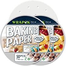 WRAPOK Air Fryer Liner 7 inch Round Perforated Parchment Bamboo Steamer Paper 100 Count Non-stick for Baking Steaming Bask...