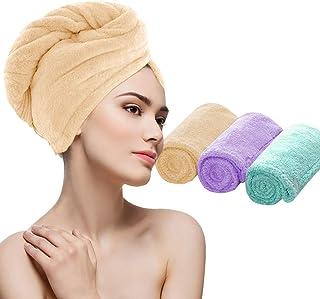 HuiYee Microfiber Hair Drying Towel, Magic Hair Turban Wrap with Button, Bath Shower Cap Quick Drying Towel for Women Kids...