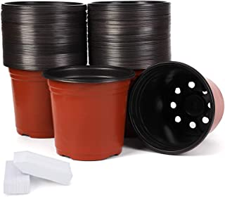 JERIA 100-Pack 6 Inch Plastic Plant Nursery Pots Come with 100 Pcs Plant Labels, Seedling Flower Plant Container and Seed ...