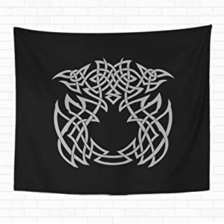 rouihot Home Decorative Tapestry Wall Hanging Viking Runes Black and White Ancient Animal Antique Armor Axe Barbarian Battle Beautiful 60x80 Inch Tapestries Wall Blanket for Dorm Living Room Bedroom
