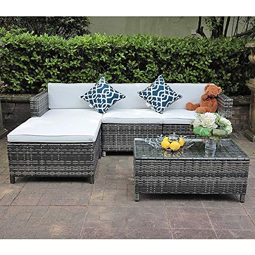 Patiorama 5pc Outdoor PE Wicker Rattan Sectional Furniture Set
