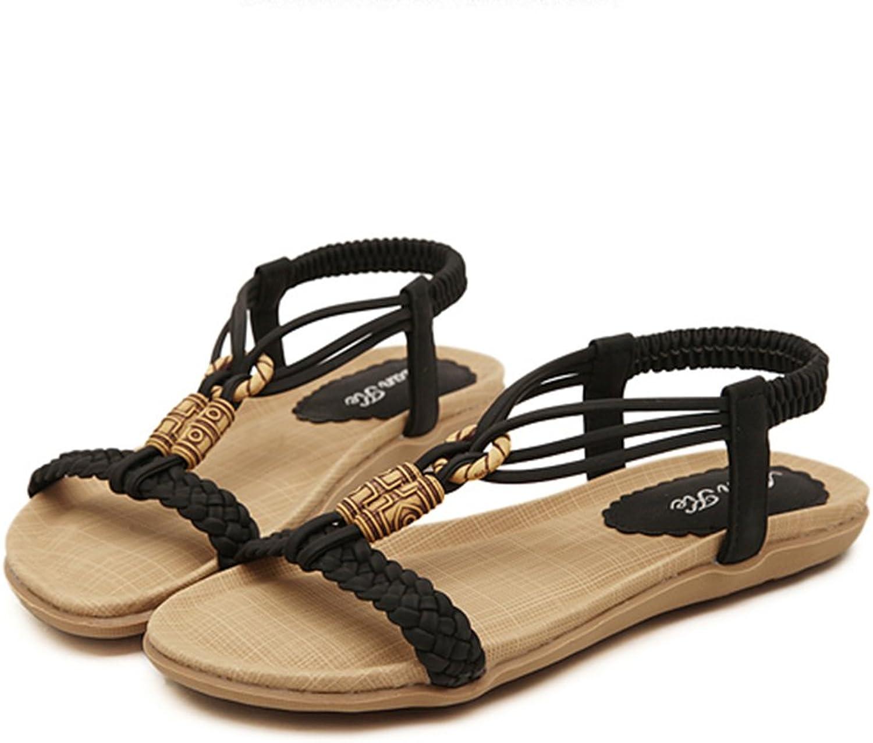 DYFYMX Beaded Elastic Casual shoes, Beach Flats, Women Sandals. Fashion 2 , Size   4UK 6US 36EU