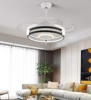 GYPPG Ventilador de Techo Moderno con luz 4 aspas retráctiles Lámpara LED remota de 60 W 3 Cambios de Color 3 velocidades Accesorio de iluminación del Cuerpo de la lámpara en Blanco y Negro
