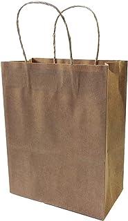 MLKCL 600 Pieces Of 27x21x11cm Medium Kraft Paper Bag, Tea Sandwich Bag With Handle, Takeout Bag (Color : COFFEE, Gift Bag...