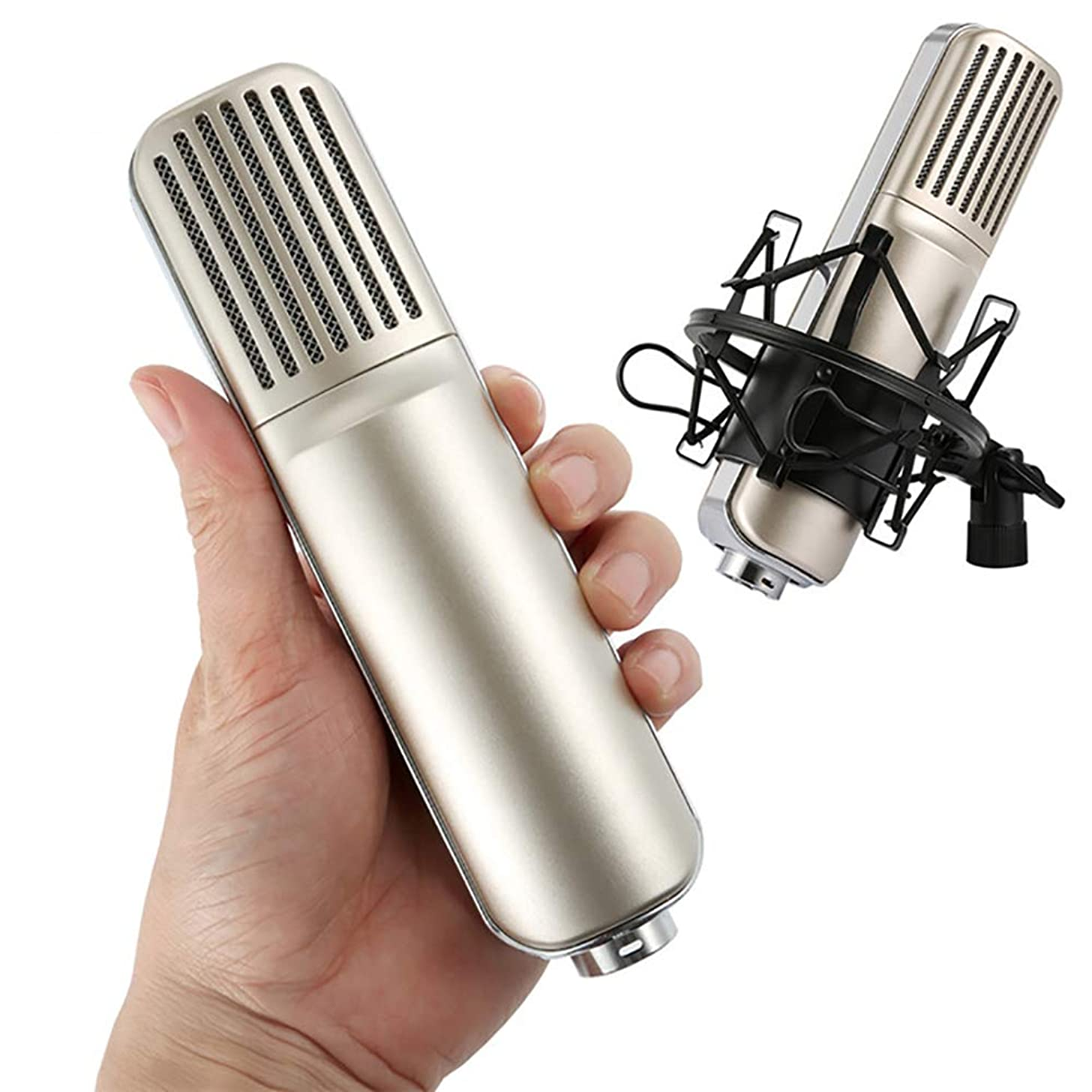 ZYG.GG Condenser Microphone Broadcasting Recording Microphone Karaoke Shock Mount XLR Cable 3.5mm Jack,Cardioid Polar Pattern for Music and Video Recording, Podcast, Gaming or Chat