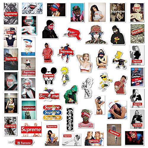 Tuotuo Supreme Sticker, 104 stuks, herhaald je niet, waterdicht, vinylsticker, snowboard, skateboard, laptop, auto, skateboard, bagage, fiets, autosticker, hippie decals
