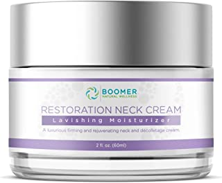 Boomer Naturals Restoration Neck Cream - Neck Firming Cream for Sagging and Tightening Neck Lines, Neck Lift Wrinkle Treatment, Enhanced with Sandalwood Extract and Cell-to-Cell Peptides & Bioactives