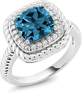 Gem Stone King London Blue Topaz 925 Sterling Silver Women's Engagement Ring 2.74 Ctw Cushion Cut Gemstone Birthstone Available 5,6,7,8,