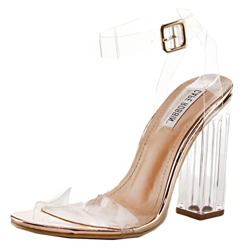 9eb03d4f76 Cape Robbin Maria-2 Women's Lucite Clear Strappy Block Chunky High Heel  Open Peep Toe