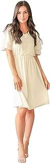 Women's Claire Modest V-Neck Tiered Flutter-Sleeve Chiffon Dress
