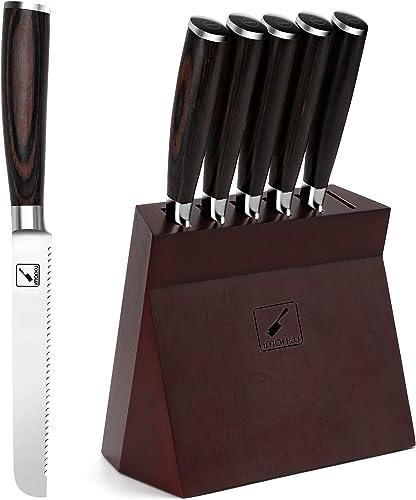 2021 Steak Knives, outlet online sale imarku Steak outlet sale Knife Set, German Stainless Steel Serrated Steak Knife, Slicing Knife for Dinner Party, Durable Pakkawood Handle sale
