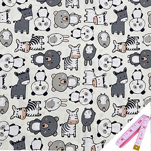 ibalulu Tela de algodón por metros para coser con cinta métrica suave – 100% algodón 160 cm x 100 cm para patchwork, tela de costura, mezcla de selin