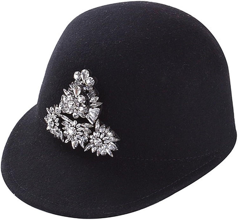 diseño simple y generoso Shuo lan lan lan Sombrero de señora Gorra de béisbol de Lana de Invierno Cristal blancoo en otoño e Invierno  edición limitada