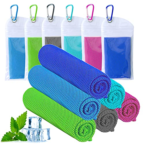 """ICECUUL Disney World Accessories for Trip Cooling Towel 6 Packs (47""""x12"""") Microfiber Towel for Instant Cooling Relief, Cool Cold Ice Towel for Yoga Golf Travel Gym Sport Camping Running&Outdoor Sports"""