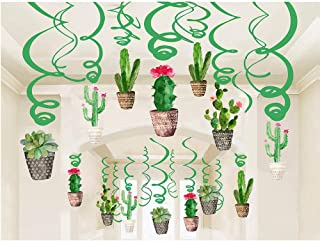 Konsait Cactus Hanging Swirl Decoration(30Pack), Cactus Swirls Birthday Party Spirals Home Ceiling Wall Decor for Mexican Fiesta Forest Woodland Farm Baby Shower Favor Supplies Decor