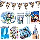Juego de Vajilla para Fiestas Hilloly 48Pcs Vajilla de Toy Story Diseño de Toy Story Cumpleaños...