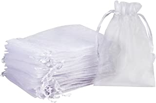"""Madholly 300 Pieces Sheer Drawstring Organza Gift Bags,3.9""""x5.7"""" White Wedding Party Christmas Favor Bags Jewelry Pouches ..."""