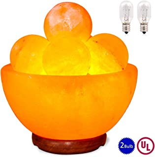 pursalt Himalayan Massage Salt Lamp Bowl with 5 Massage Balls Hand Carved Taly Wood Base Pink Crystal Rock Salt for Air Purifying, Home Décor, Gifts, Extra Replacement Bulb, Salt Lamp Night Light