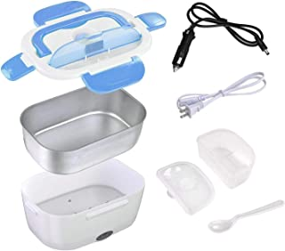 Car Electric Lunch Box, Portable Food Warmer Heating, Food-Grade Stainless Steel Container, 12V & 110V 40W Adapter, Car Truck Home Work Use, Spoon and 2 Compartments Included, Blue