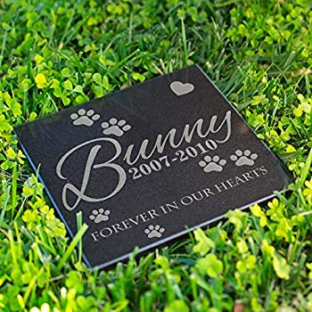 Lara Laser Works Personalized Dog Memorial Customized Dog Grave Marker Custom Headstone - DSG#8 - Aged Granite