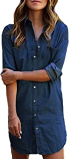 Women's Long Sleeve Blouse Dress Denim Shirt Dresses Button Down Chambray Cotton Tops with Pockets
