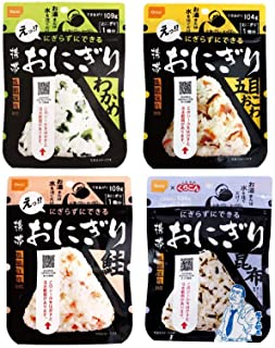 尾西食品 携帯おにぎり 4種類×2袋 計8袋セット わかめ・鮭・五目おこわ・昆布 5年保存食 非常食...