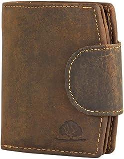 Geldbörse Damen Riegelbörse Portemonnaie Leder Greenburry Vintage braun