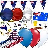 130-teiliges Dekoset * AUSTRALIEN * für eine Länder-Party // mit Wimpelkette + Flaggen + Lampion + Luftballons + Luftschlangen + Konfetti // Deko Dekoration Mottoparty Abschiedsparty