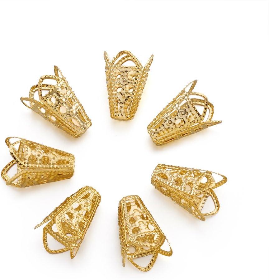 NF 15 pcs of Antiqued brass filigree cone bead cap 20X17mm