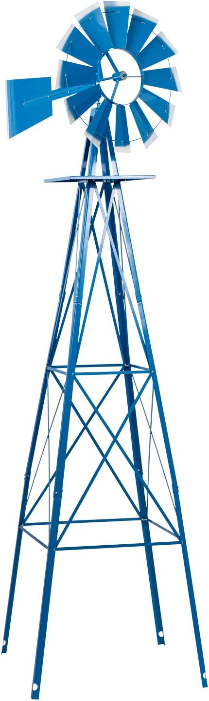 Crownland 8FT Ornamental Windmill Backyard Garden Decoration Weather Vane, Heavy Duty Metal Wind Mill Weather Resistant 4 Legs Design (Red)
