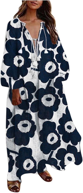 Women's Plus Size Floral Loose Long Maxi Dress Oversized Bohemian Summer Beach Dress