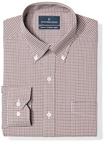 Buttoned Down Marca Amazon – Camisa de Vestir con Botones a Medida para Hombre, diseño de Cuello de botón, no Necesita Planchado, Color marrón, 15 Pulgadas, Cuello 34 Pulgadas de Manga