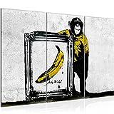Bilder Affe mit Bannane Banksy Street Art Wandbild 120 x 80 cm - 3 Teilig Vlies - Leinwand Bild XXL Format Wandbilder Wohnzimmer Wohnung Deko Kunstdrucke Gelb Grau - MADE IN GERMANY - Fertig zum Aufhängen 302231a